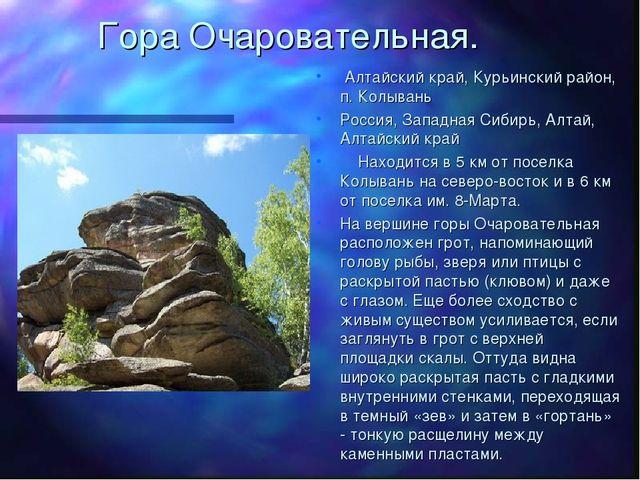 Гора Очаровательная. Алтайский край, Курьинский район, п. Колывань Россия, За...