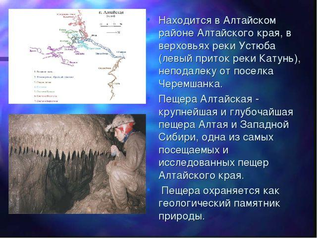 Находится в Алтайском районе Алтайского края, в верховьях реки Устюба (левый...