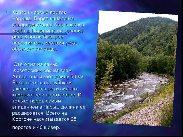 Коргон - левый приток Чарыша. Берет начало на северном склоне Коргонского хре...
