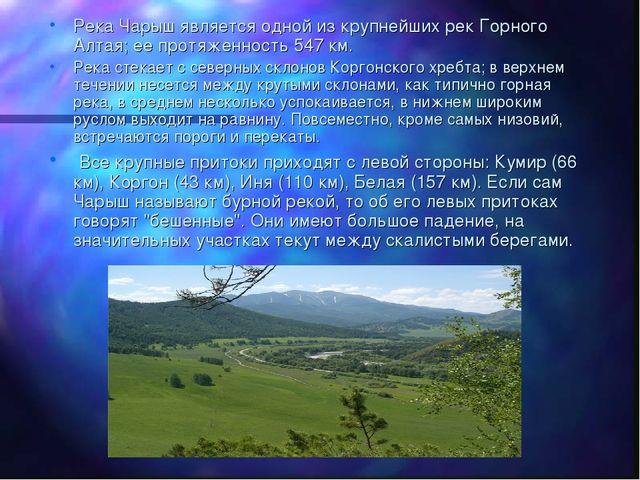Река Чарыш является одной из крупнейших рек Горного Алтая; ее протяженность 5...