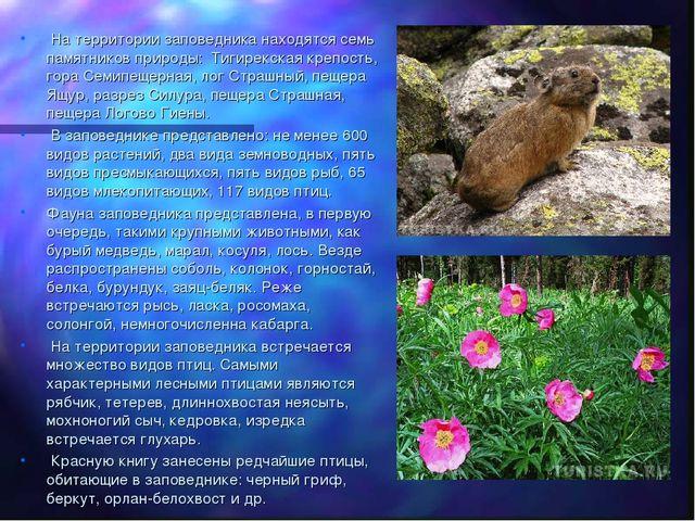 На территории заповедника находятся семь памятников природы: Тигирекская кре...