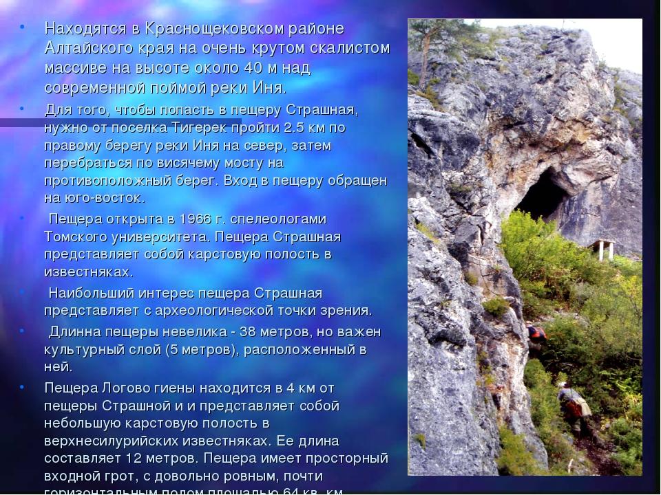 Находятся в Краснощековском районе Алтайского края на очень крутом скалистом...