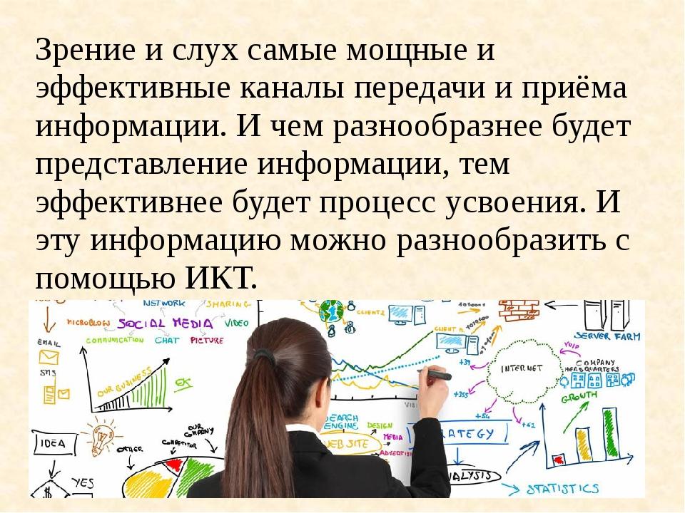 Зрение и слух самые мощные и эффективные каналы передачи и приёма информации....