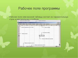 Рабочее поле программы Рабочее поле электронной таблицы состоит из горизонтал