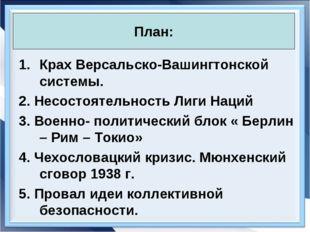 * Антоненкова А.В. МОУ Будинская ООШ * Крах Версальско-Вашингтонской системы.