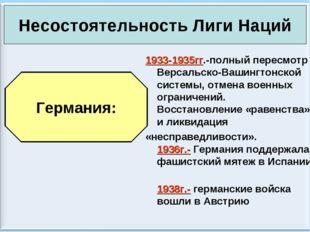 * Антоненкова А.В. МОУ Будинская ООШ * 1933-1935гг.-полный пересмотр Версальс
