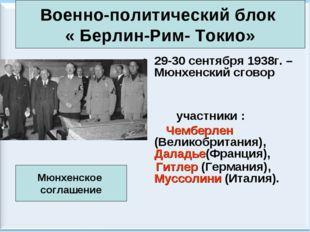 * Антоненкова А.В. МОУ Будинская ООШ * 29-30 сентября 1938г. – Мюнхенский сго