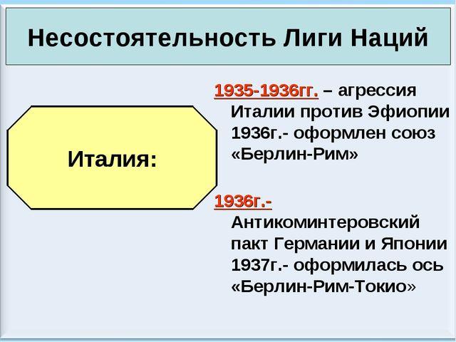 * Антоненкова А.В. МОУ Будинская ООШ * 1935-1936гг. – агрессия Италии против...
