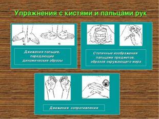Упражнения с кистями и пальцами рук Движения пальцев, передающие динамические