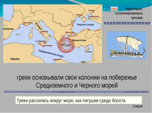 территории, колонизированные греками греки основывали свои колонии на побереж