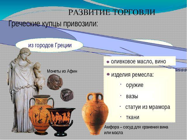 РАЗВИТИЕ ТОРГОВЛИ Греческие купцы привозили: оливковое масло, вино изделия р...