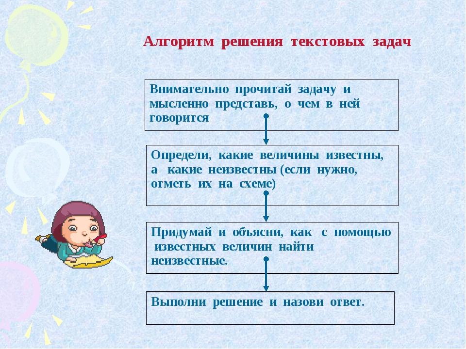 Алгоритм решения текстовых задач Внимательно прочитай задачу и мысленно пред...