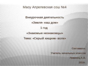 Маоу Апрелевская сош №4 Внеурочная деятельность «Земля- наш дом» 1 год «Знако