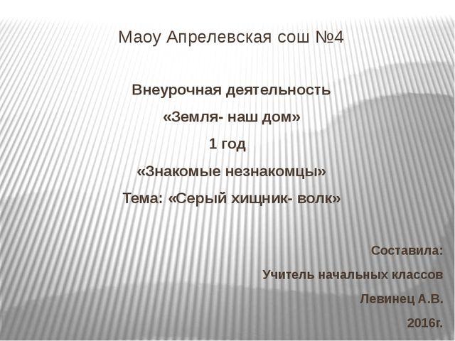 Маоу Апрелевская сош №4 Внеурочная деятельность «Земля- наш дом» 1 год «Знако...