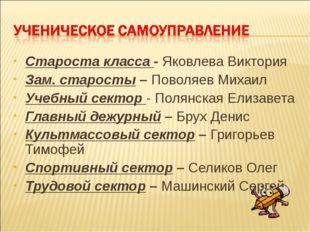 Староста класса - Яковлева Виктория Зам. старосты – Поволяев Михаил Учебный с