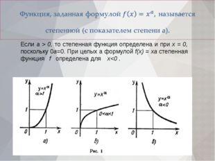 Если а > 0, то степенная функция определена и при х = 0, поскольку 0а=0. При