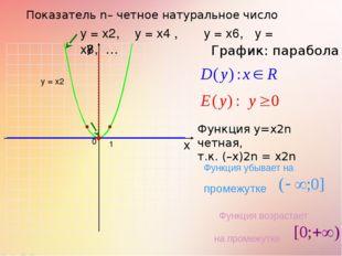 Показатель n– четное натуральное число 1 0 х у у = х2, у = х4 , у = х6, у = х