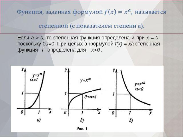 Если а > 0, то степенная функция определена и при х = 0, поскольку 0а=0. При...