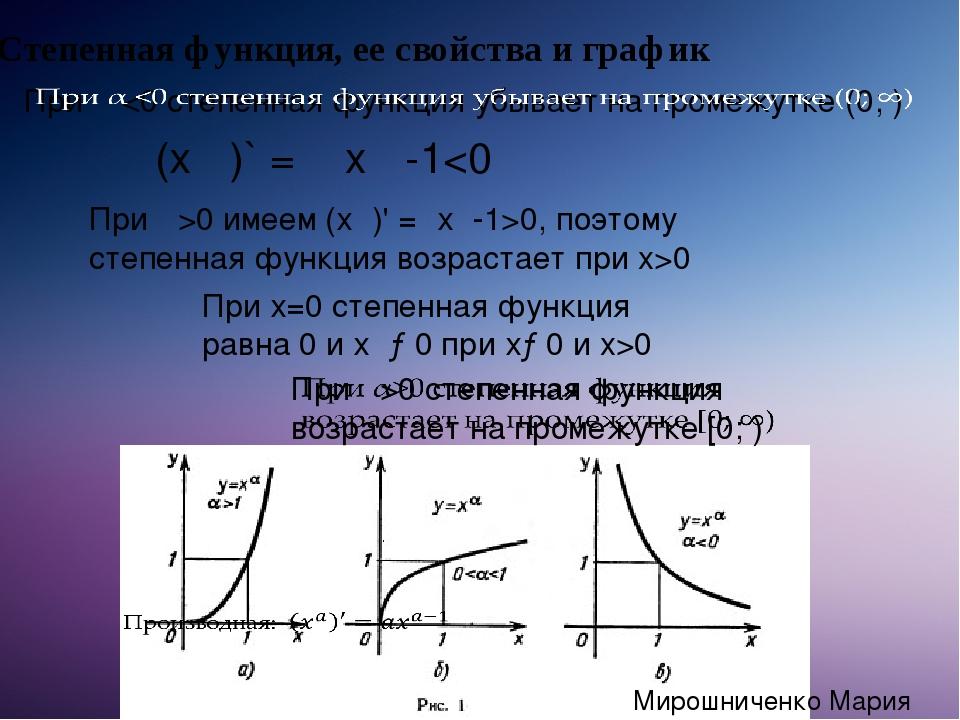 (хα)` = α xα -10 имеем (хα)' =αхα-1>0, поэтому степенная функция возрастает...