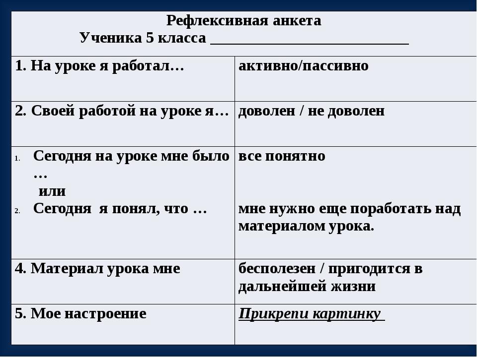 Рефлексивная анкета Ученика 5 класса _________________________ 1. На уроке я...