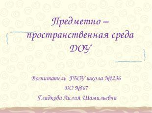 Предметно – пространственная среда ДОУ Воспитатель ГБОУ школа №1236 ДО №567 Г