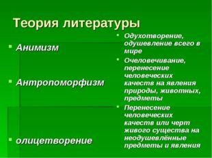 Теория литературы Анимизм Антропоморфизм олицетворение Одухотворение, одушевл