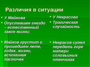 Различия в ситуации У Майкова Опустевшее гнездо – естественный закон жизни; М
