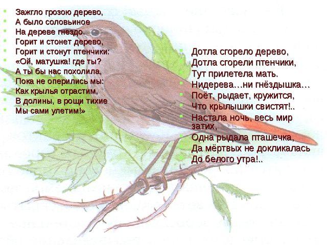 Зажгло грозою дерево, А было соловьиное На дереве гнездо. Горит и стонет дере...