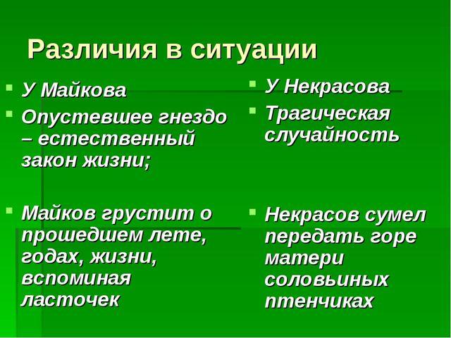 Различия в ситуации У Майкова Опустевшее гнездо – естественный закон жизни; М...