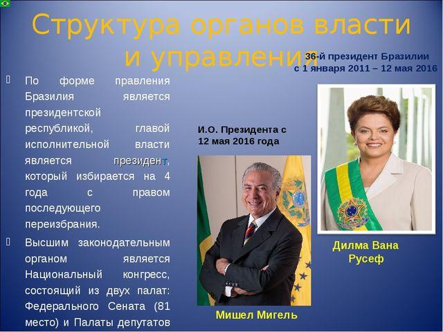 Структура органов власти и управления По форме правления Бразилия является пр...