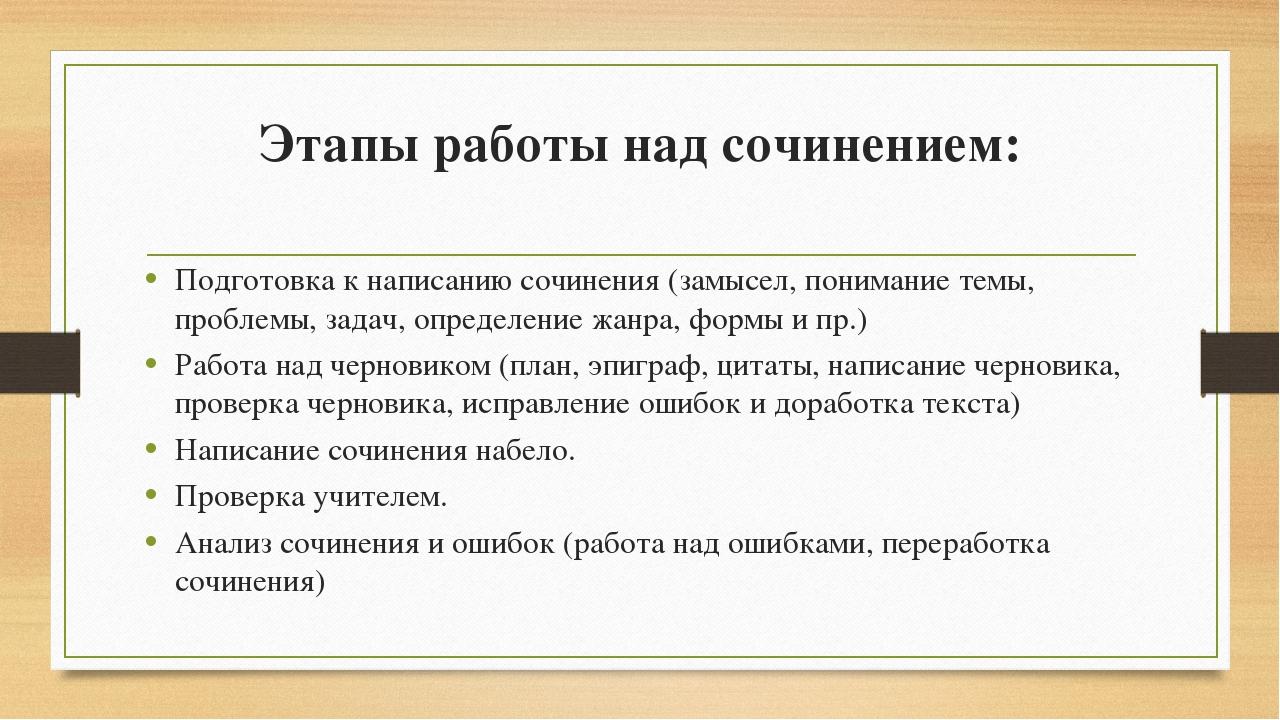 Этапы работы над сочинением: Подготовка к написанию сочинения (замысел, поним...