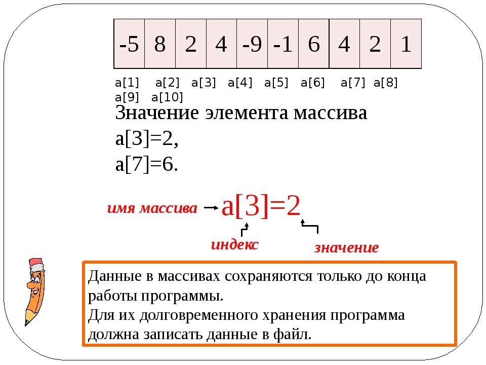 Значение элемента массива а[3]=2, а[7]=6. Данные в массивах сохраняются тольк...
