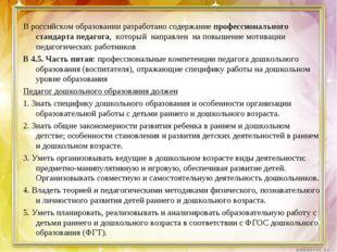 В российском образовании разработано содержание профессионального стандарта
