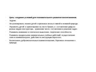 Цель: создание условий для познавательного развития воспитанников. Задачи: А