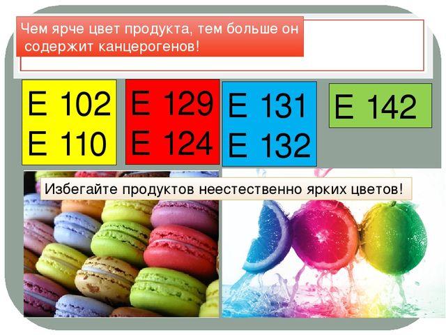 Красители Е 102 Е 110 Е 129 Е 124 Е 131 Е 132 Е 142 Чем ярче цвет продукта, т...