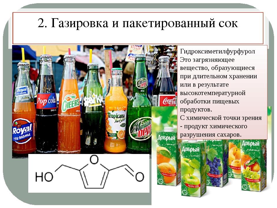 2. Газировка и пакетированный сок Гидроксиметилфурфурол Это загрязняющее веще...