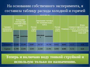 На основании собственного эксперимента, я составила таблицу расхода холодной