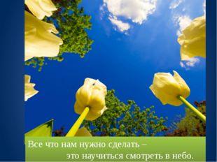 Все что нам нужно сделать – это научиться смотреть в небо.