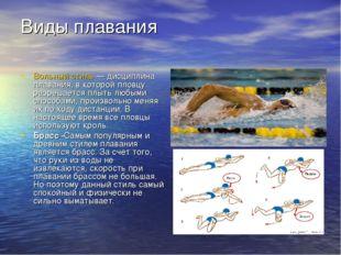 Виды плавания Вольный стиль— дисциплина плавания, в которой пловцу разрешает
