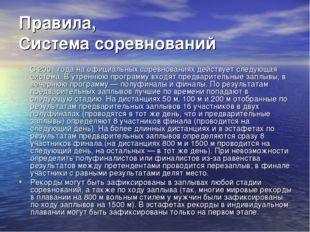 Правила, Система соревнований С 2001 года на официальных соревнованиях действ