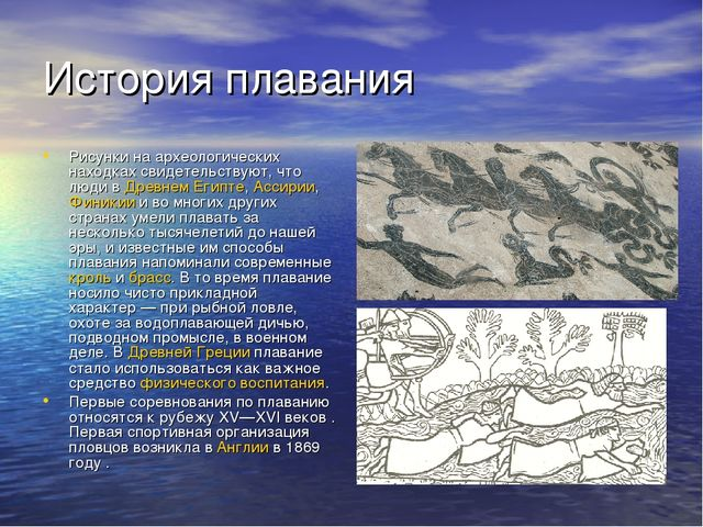 История плавания Рисунки на археологических находках свидетельствуют, что люд...