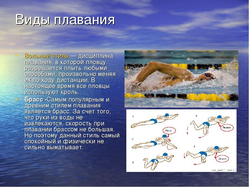 Виды плавания Вольный стиль— дисциплина плавания, в которой пловцу разрешает...