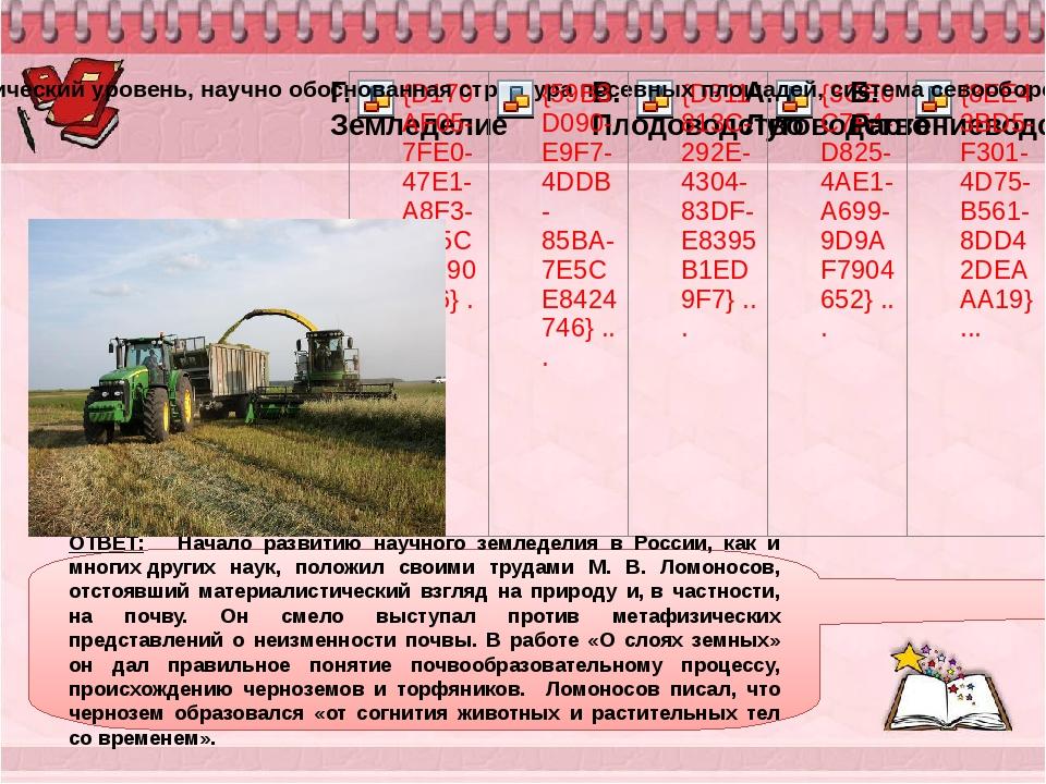 ОТВЕТ: Начало развитию научного земледелия в России, как и многихдругих нау...