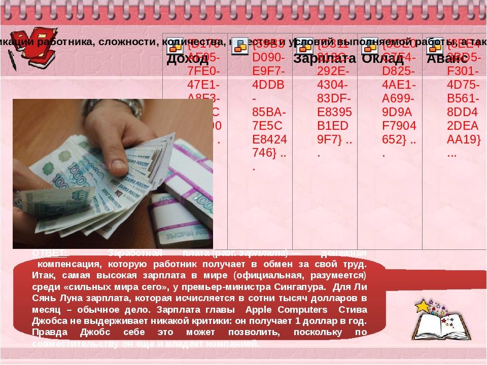 ОТВЕТ: Заработная плата(разг.зарплата)— денежная компенсация, которую р...