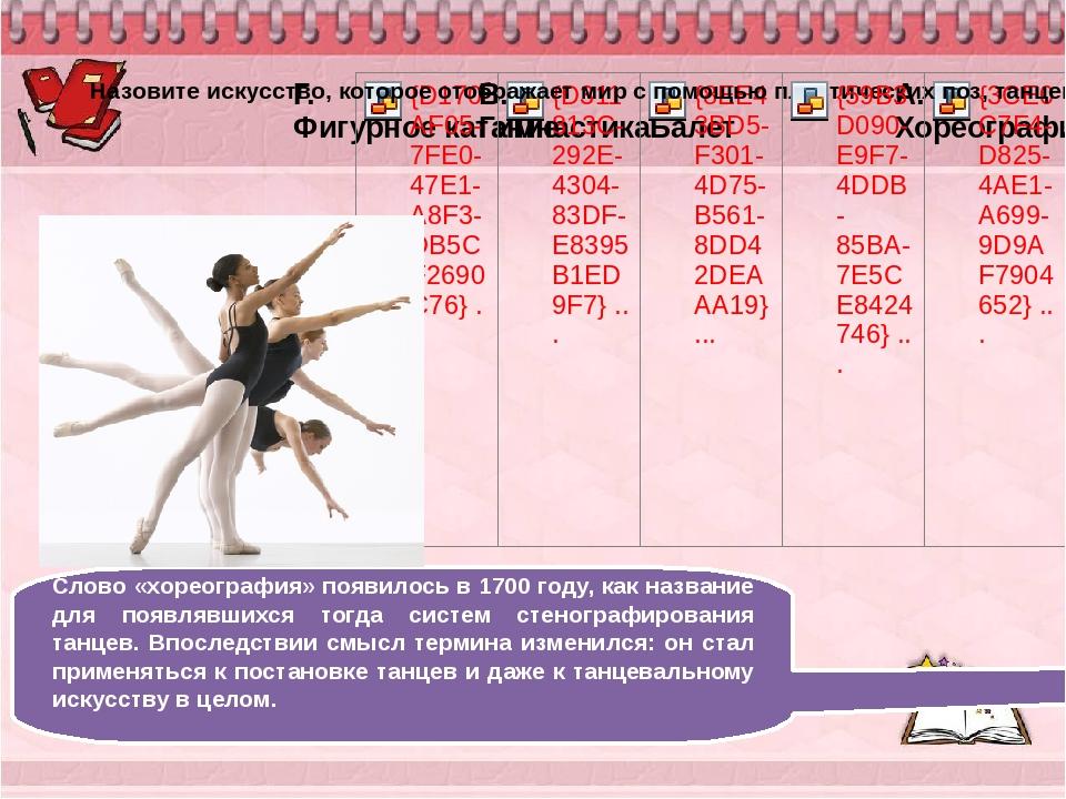 Слово «хореография» появилось в 1700 году, как название для появлявшихся тог...