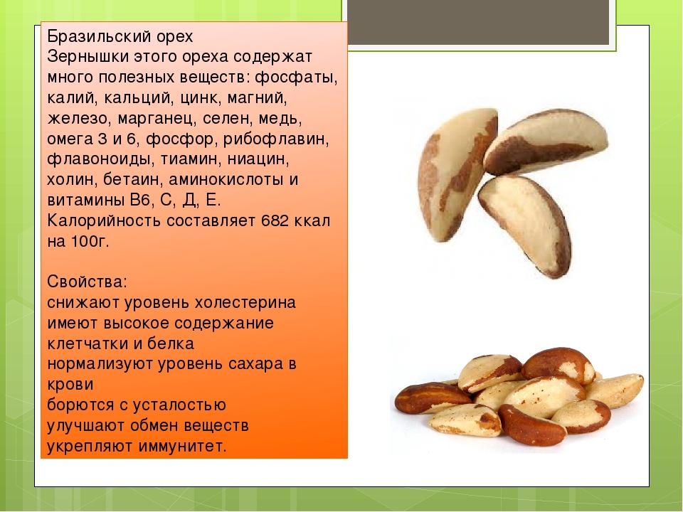 Бразильский орех Зернышки этого ореха содержат много полезных веществ: фосфат...