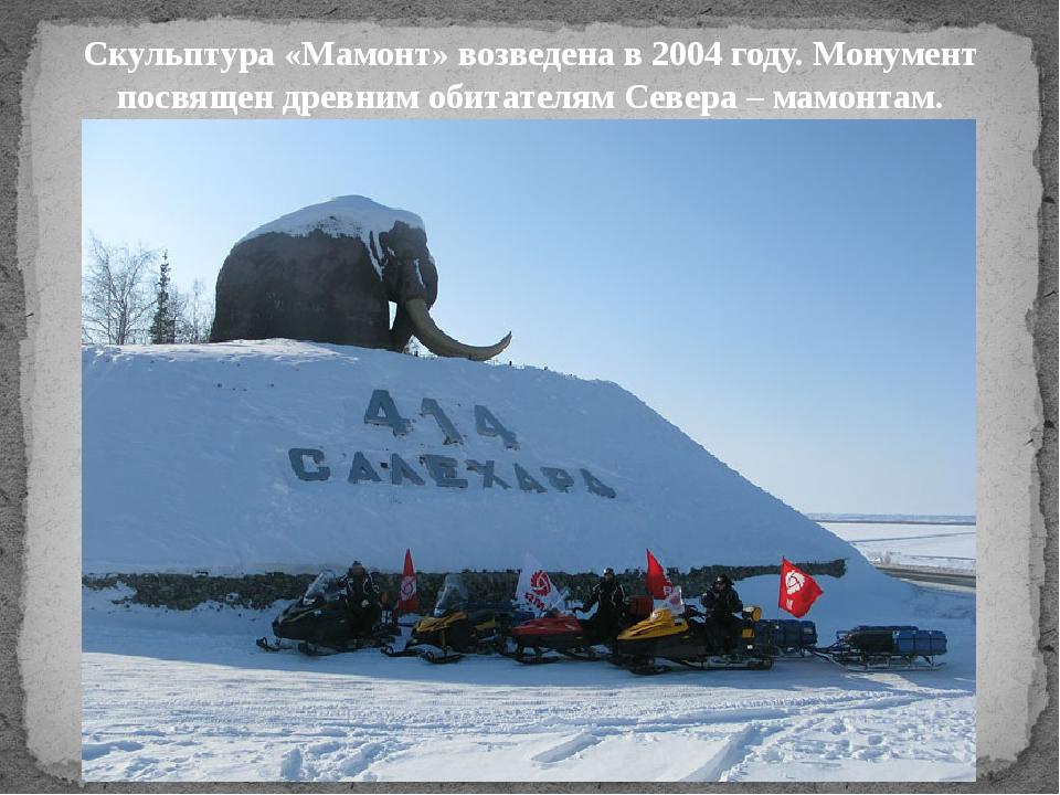 Скульптура «Мамонт»возведена в 2004 году. Монумент посвящен древним обитател...