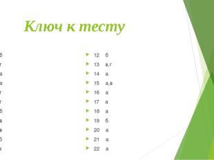 Ключ к тесту 1 б 2 г 3 а 4 а 5 г 6 г 7 б 8 в 9 в 10 б 11 в 12 б 13 в,г 14 а
