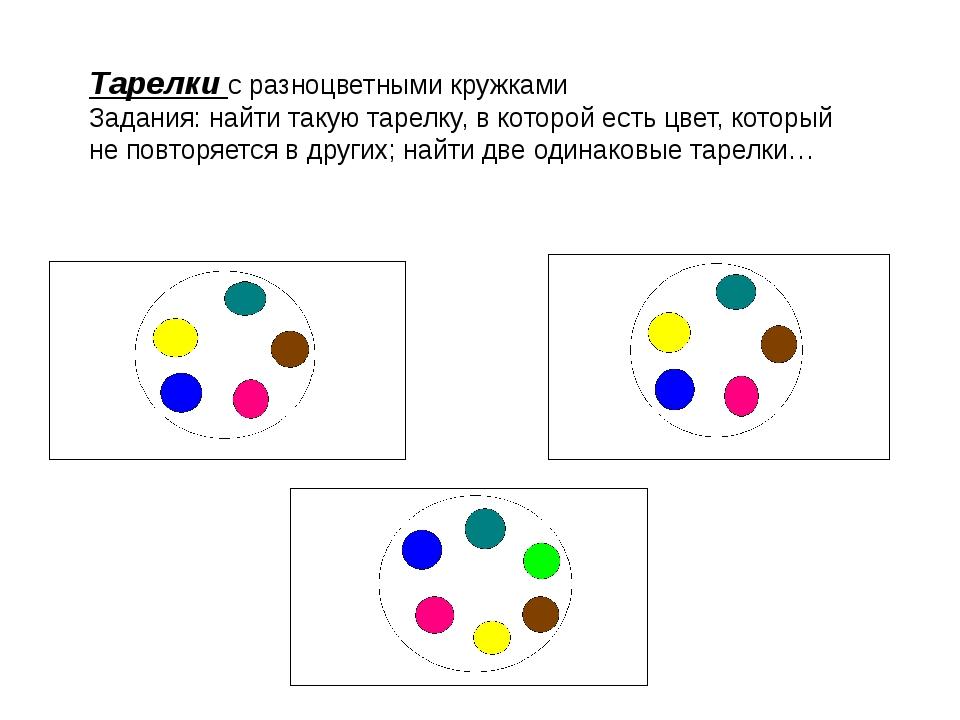 Тарелки с разноцветными кружками Задания: найти такую тарелку, в которой есть...