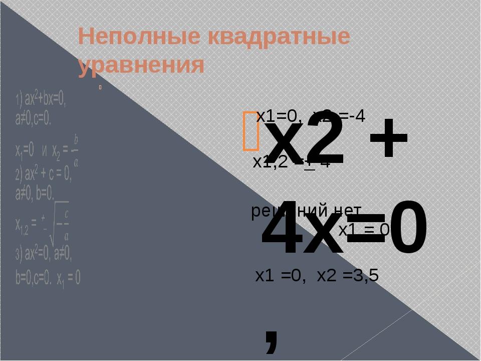 Неполные квадратные уравнения  х2 + 4x=0 , х2 – 16 = 0, 3x2 + 10 =0 , 5x2 =0...